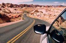 Car driving through the desert in Arizona