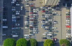 Aerial view of cars in parking lot