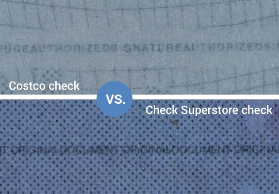 Costco check versus Checks Superstore check
