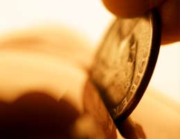 Inserting coin to the bank