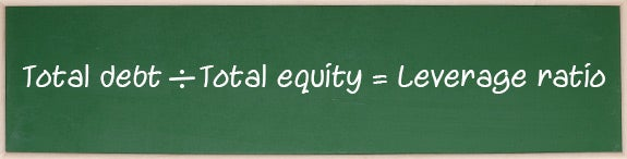 Total debt ÷ Total equity = Leverage ratio