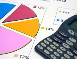 A calculator and pie chart