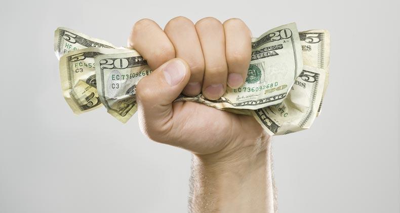 Man grabbing money