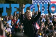 Hillary Clinton two thumbs-up in rally   Maddie McGarvey/Getty Images