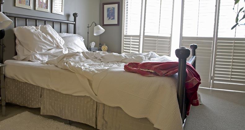 Bedroom unmade bed