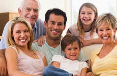 Multigenerational family sitting on couch