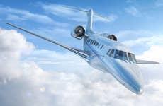 Private jet in the sky