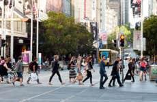 People crossing street in manhattan