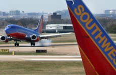 Southwest airplane ready for takeoff