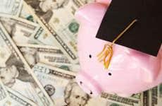 Piggy bank wearing graduation cap on top of $20 bills © zimmytws/Shutterstock.com