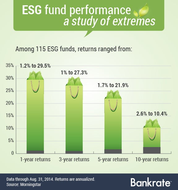 ESG fund performance, a study of extremes | Bag with leaves illustration © SiuWing/Shutterstock.com