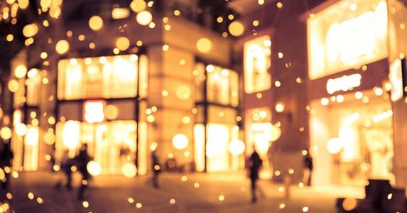 Shopping mall blur background holiday lights © iStock
