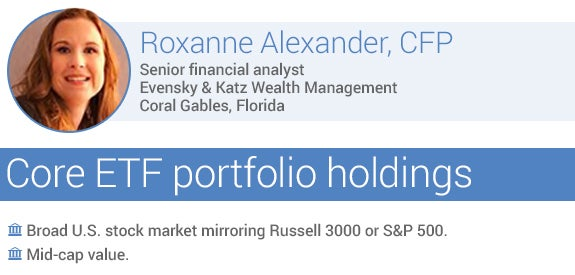 Recommended core ETF portfolio holdings by Roxanne Alexander, CFP