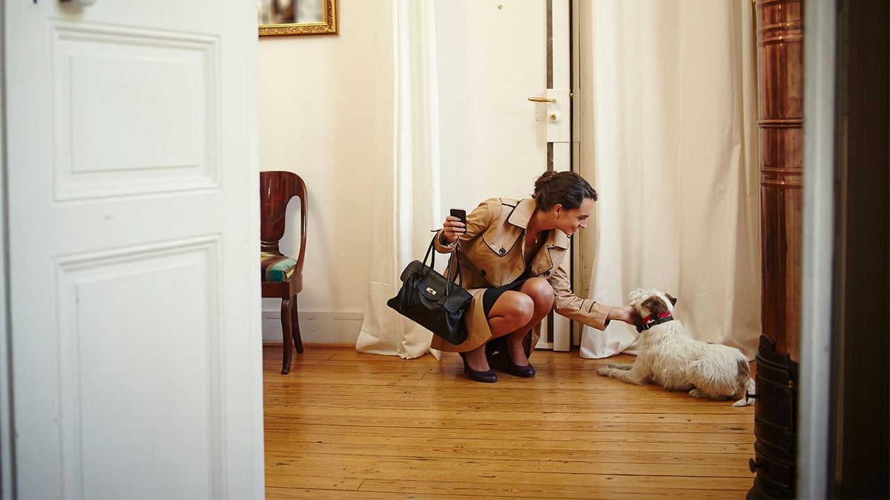 Homeowner with dog