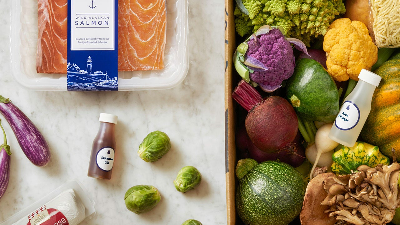 Blue Apron flat lay of food delivery box