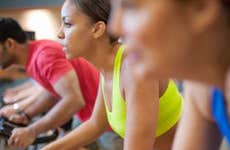 spin class in a gym