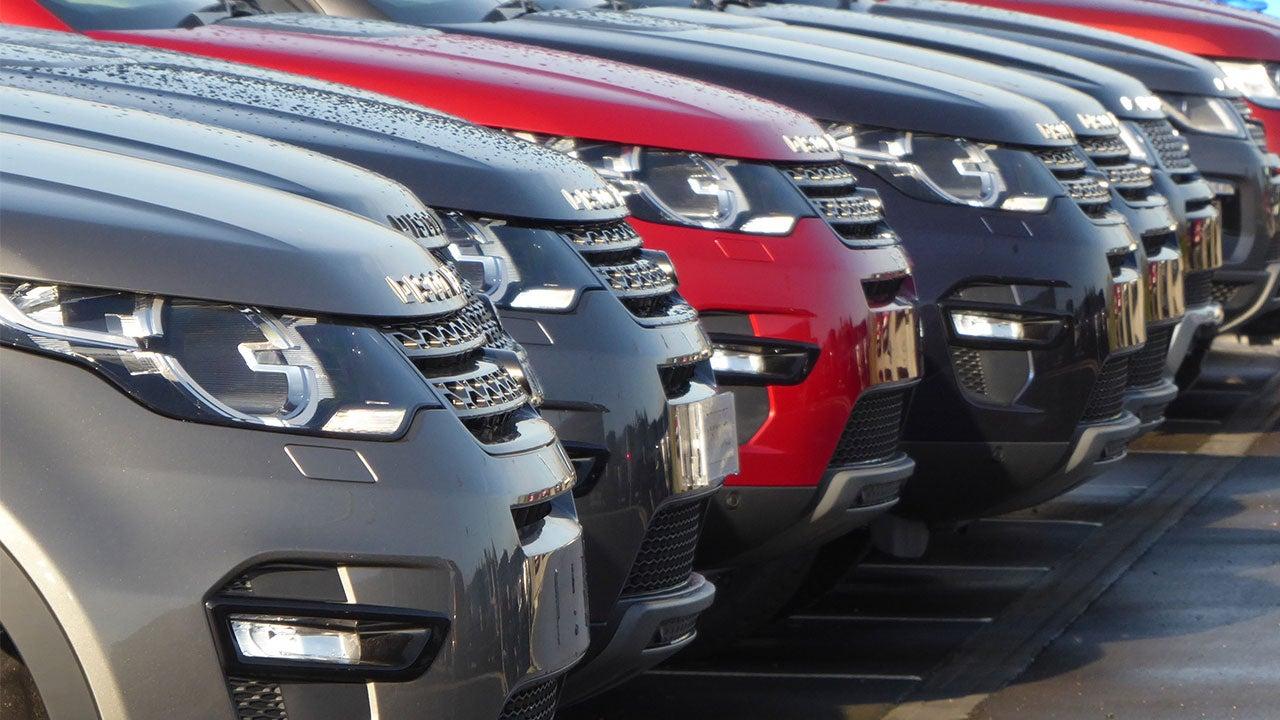New cars in car dealership