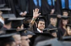 College graduation crowd