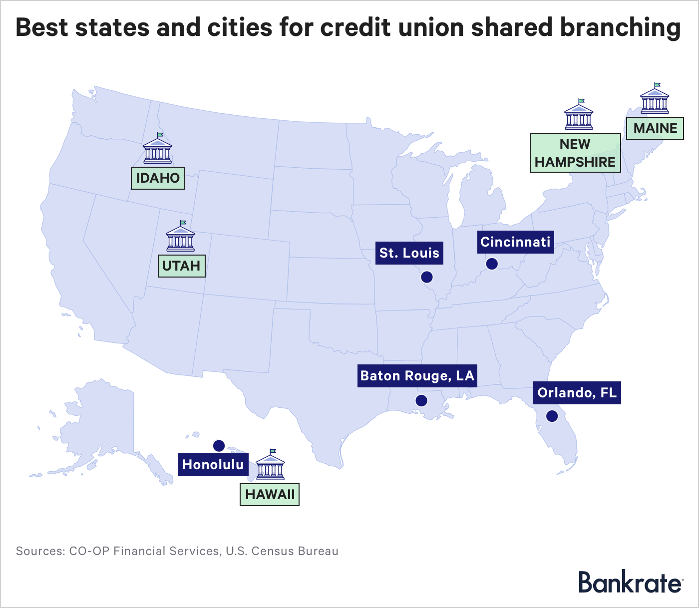 Map: Best states and cities for credit union shared branching