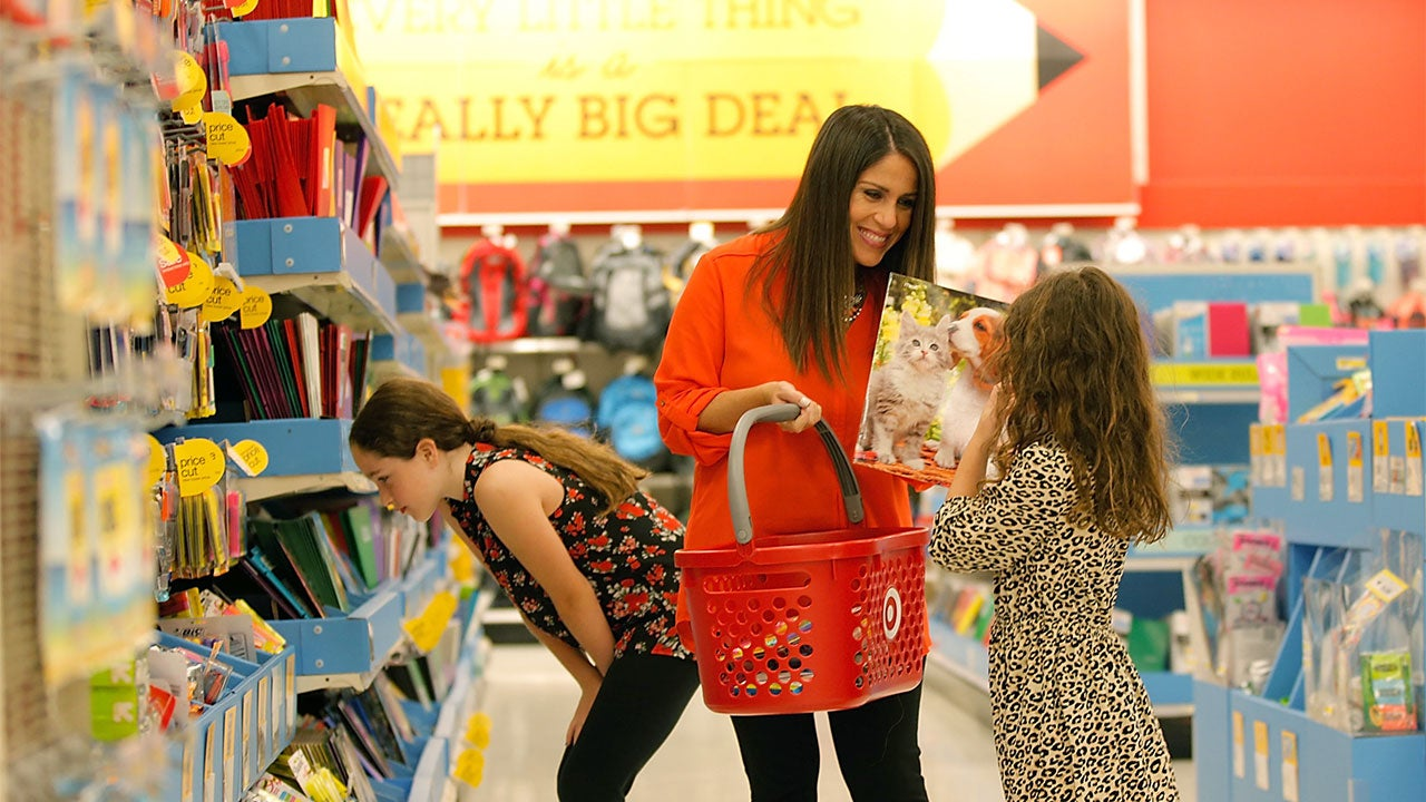 Family back to school shopping at Target
