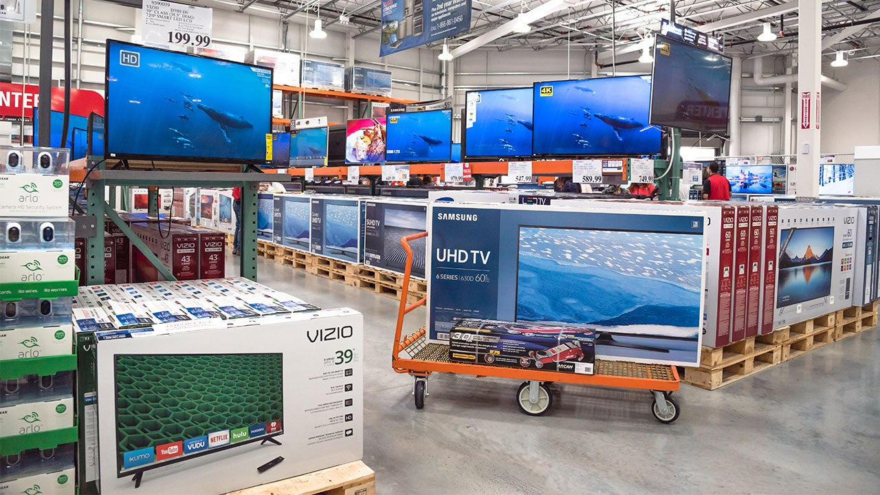 Flat screen televisions in Costco