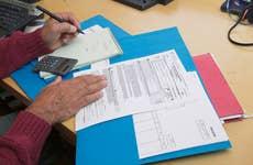 Man preparing taxes