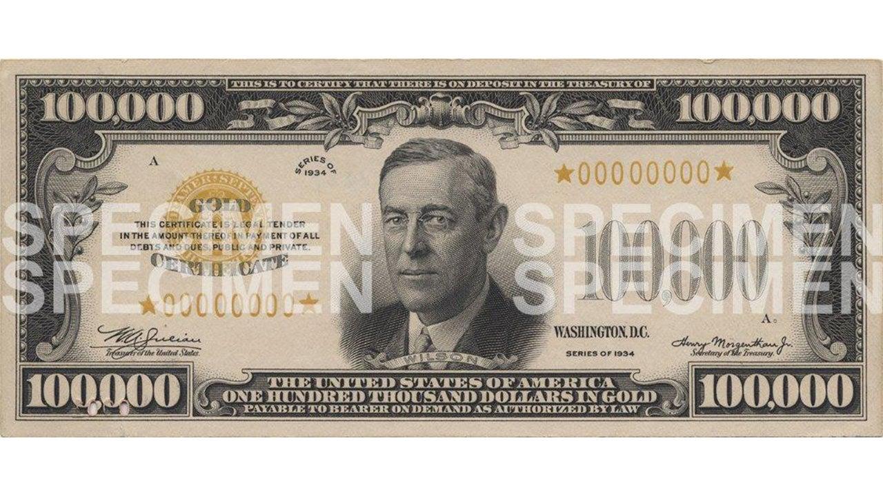 $100,000 Wilson gold bill