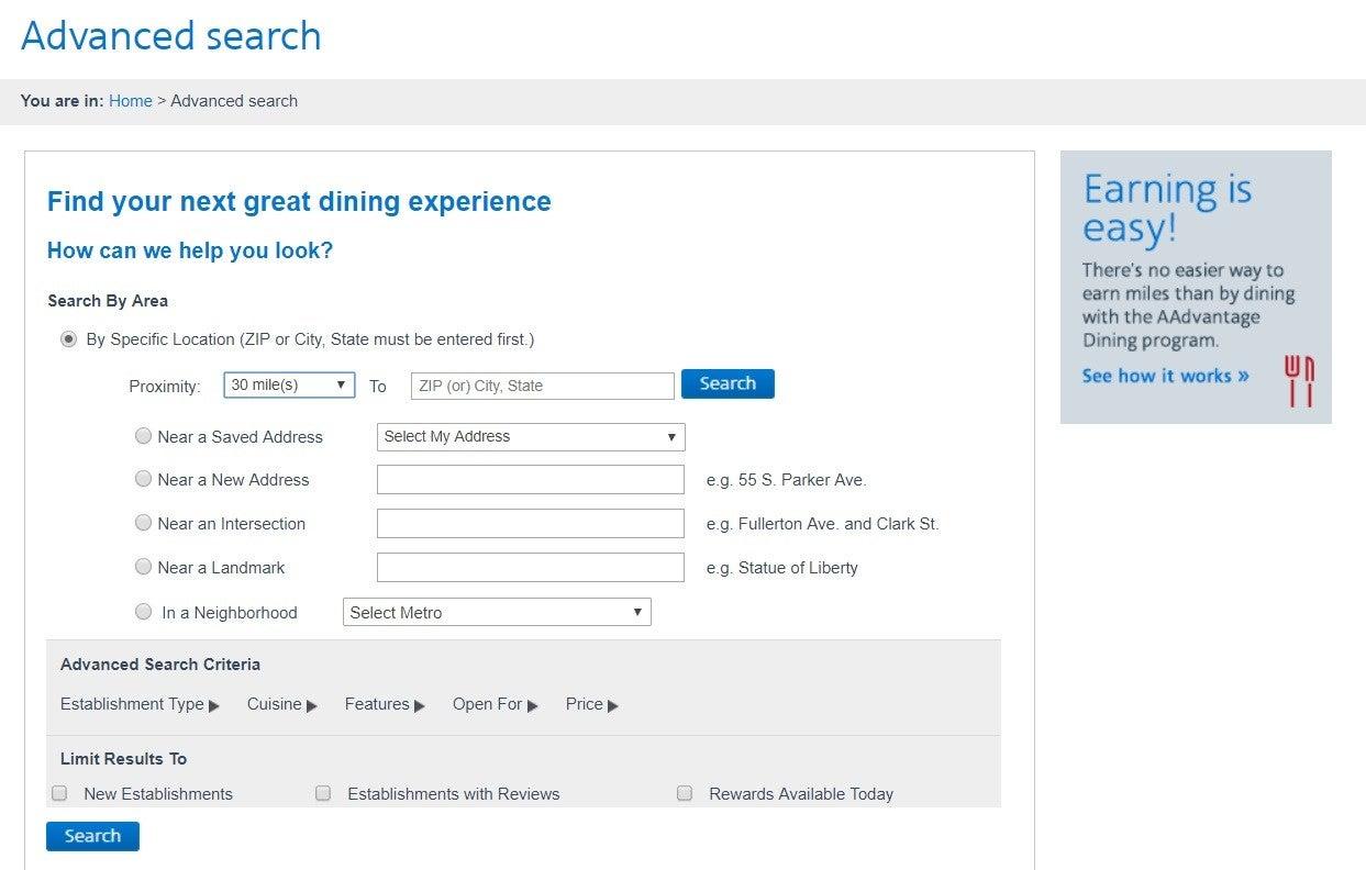American AAdvantage dining locator