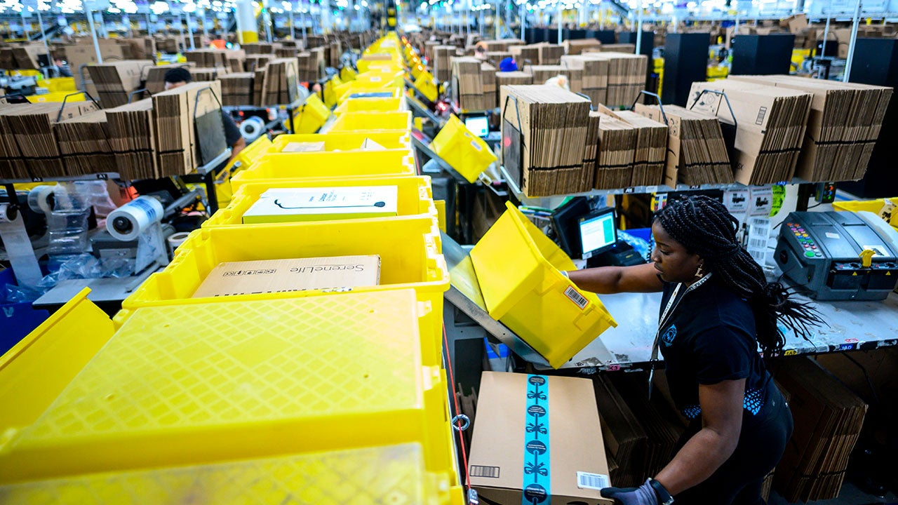 Woman working in Amazon warehouse