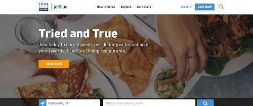 Earn more travel points with JetBlue TrueBlue Dining.
