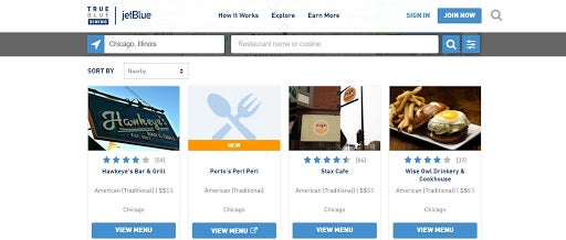 TrueBlue Dining makes it easy to find participating restaurants.