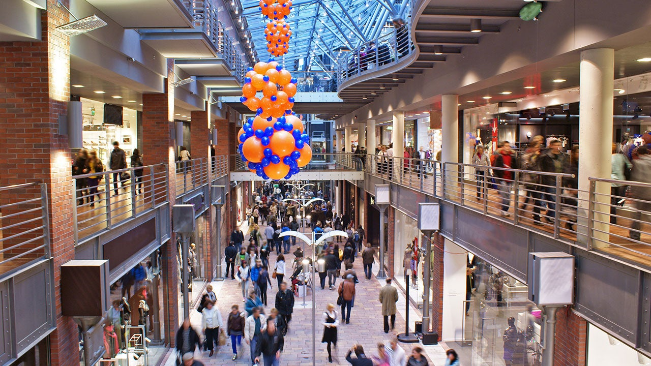 Consumers shopping in a shopping mall