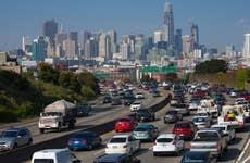Cars in traffic in California