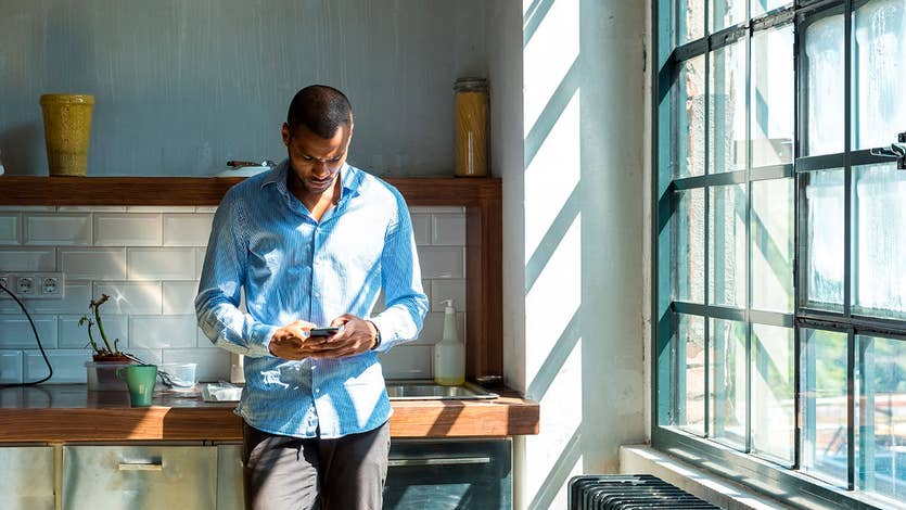 Man using a banking app on phone