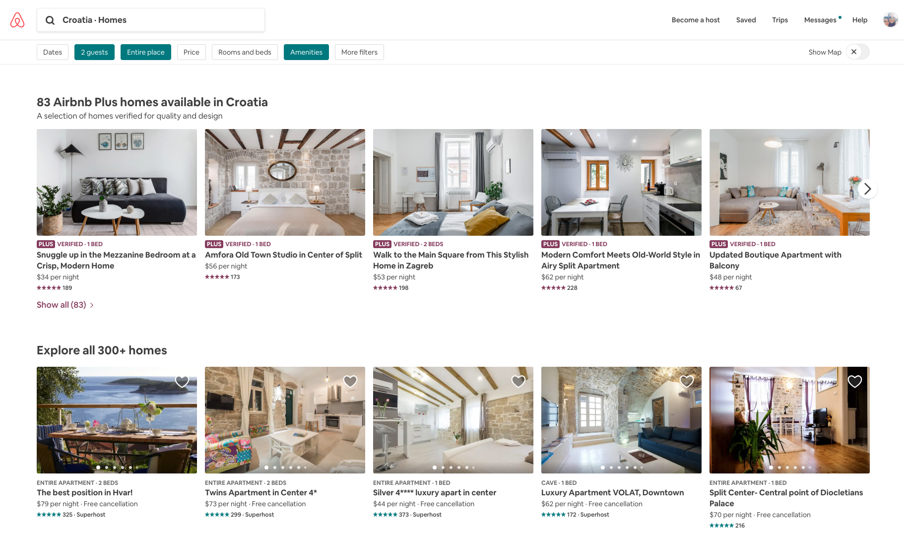 Screenshot of Croatia Airbnb search results