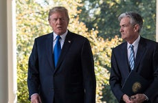 President Donald Trump and Federal Reserve board member Jerome Powell