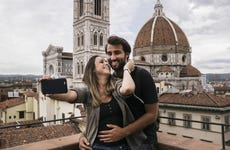 Young couple takes selfie while on vacation