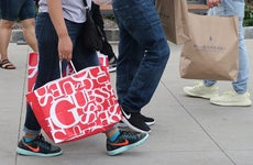 American consumers with big shopping bags