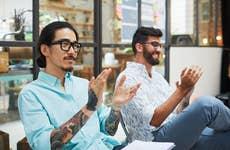 Millennial men in an office