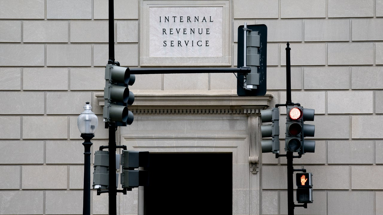 A picture of a door to the IRS building