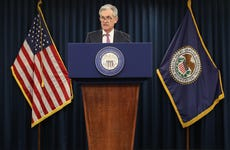 Fed Chairman Jerome Powell speaks to journalists at a June 19 press conference