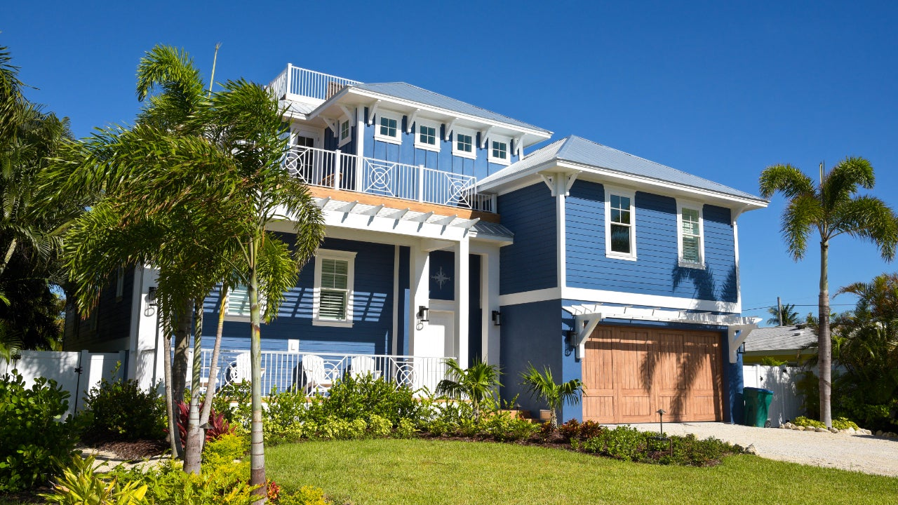 A sunny, two-story Florida beach home