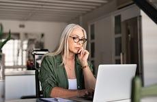 woman at home computer
