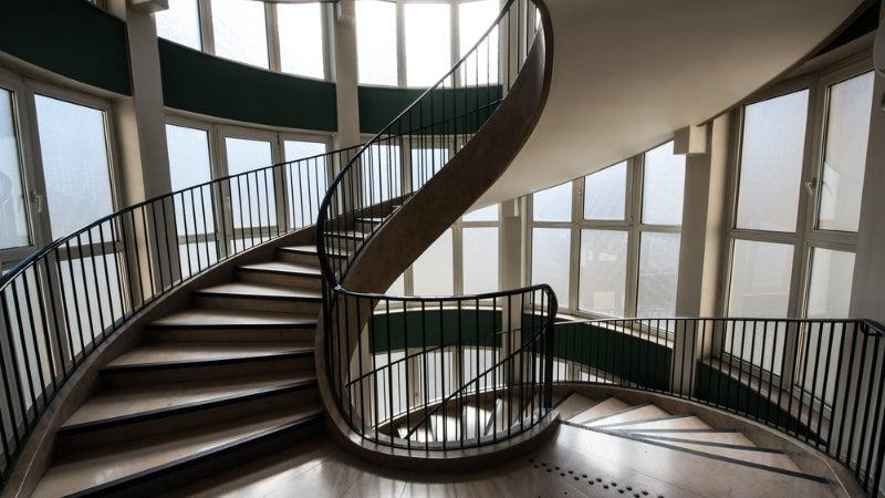 A long spiral staircase.