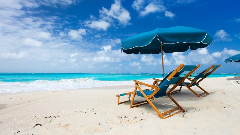 beach chairs on beach in Caribbean