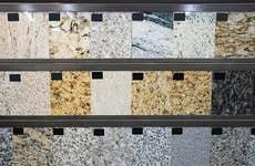 Granite samples in a store
