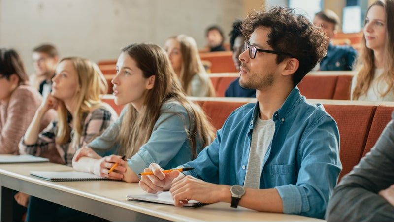 Students in classroom attend a lecture.