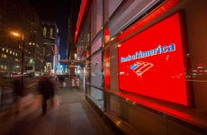 Bank of America in Manhattan at night.