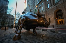 Famous Charging Bull Statue is seen lonely at the Financial District in New York