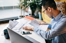 Person looking over paperwork